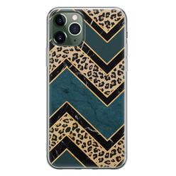 Leuke Telefoonhoesjes iPhone 11 Pro siliconen hoesje - Luipaard zigzag