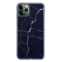 iPhone 11 Pro siliconen hoesje - Marmer navy blauw