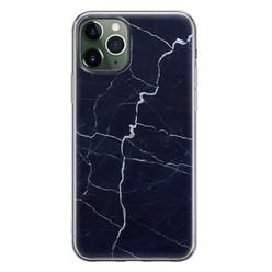 Leuke Telefoonhoesjes iPhone 11 Pro siliconen hoesje - Marmer navy blauw