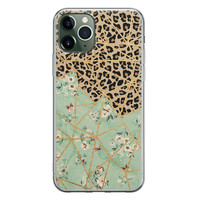 iPhone 11 Pro siliconen hoesje - Luipaard flower print