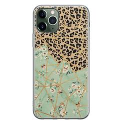Leuke Telefoonhoesjes iPhone 11 Pro siliconen hoesje - Luipaard flower print