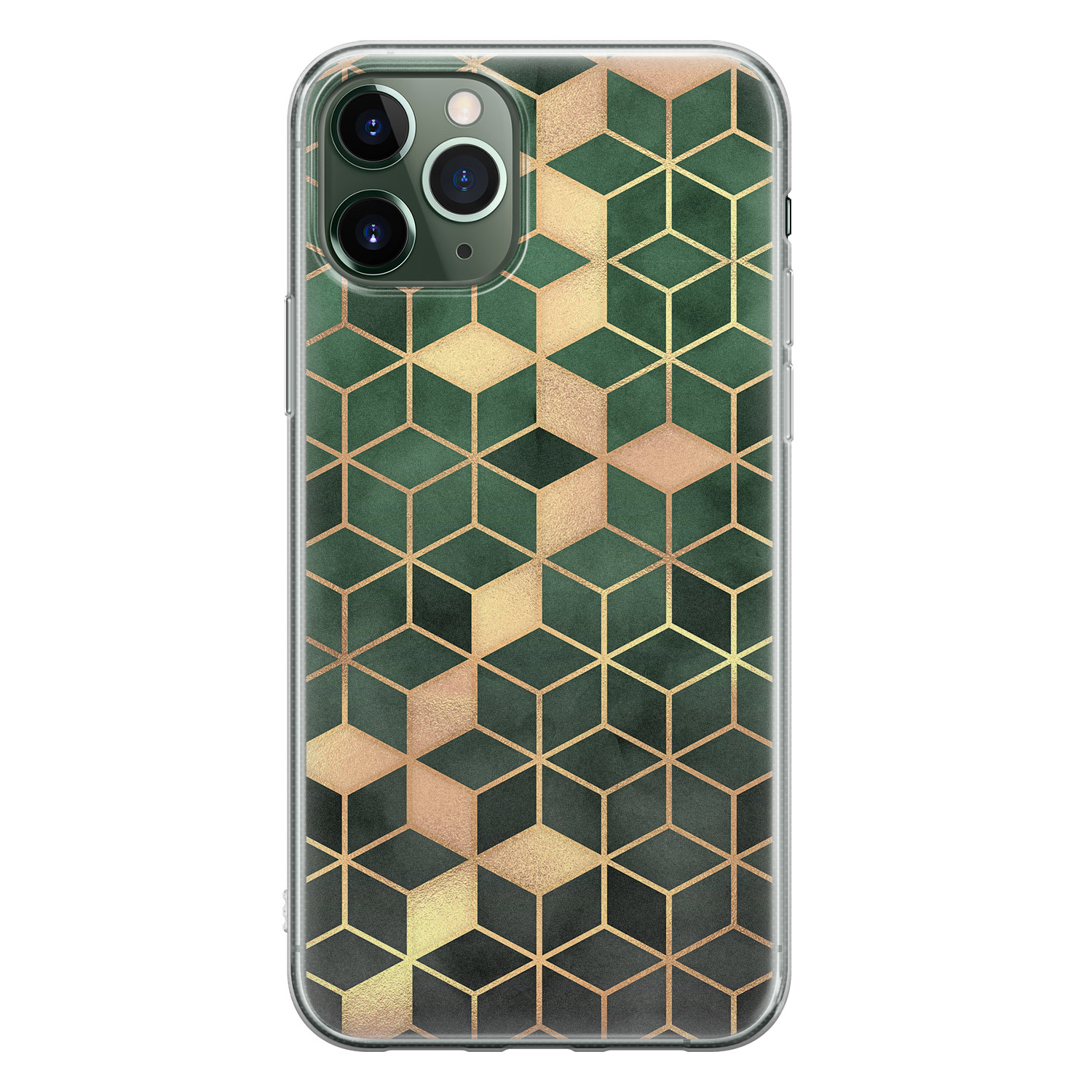 iPhone 11 Pro siliconen hoesje - Green cubes