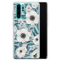 Huawei P30 Pro siliconen hoesje - Witte bloemen