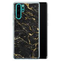 Huawei P30 Pro siliconen hoesje - Marmer zwart goud