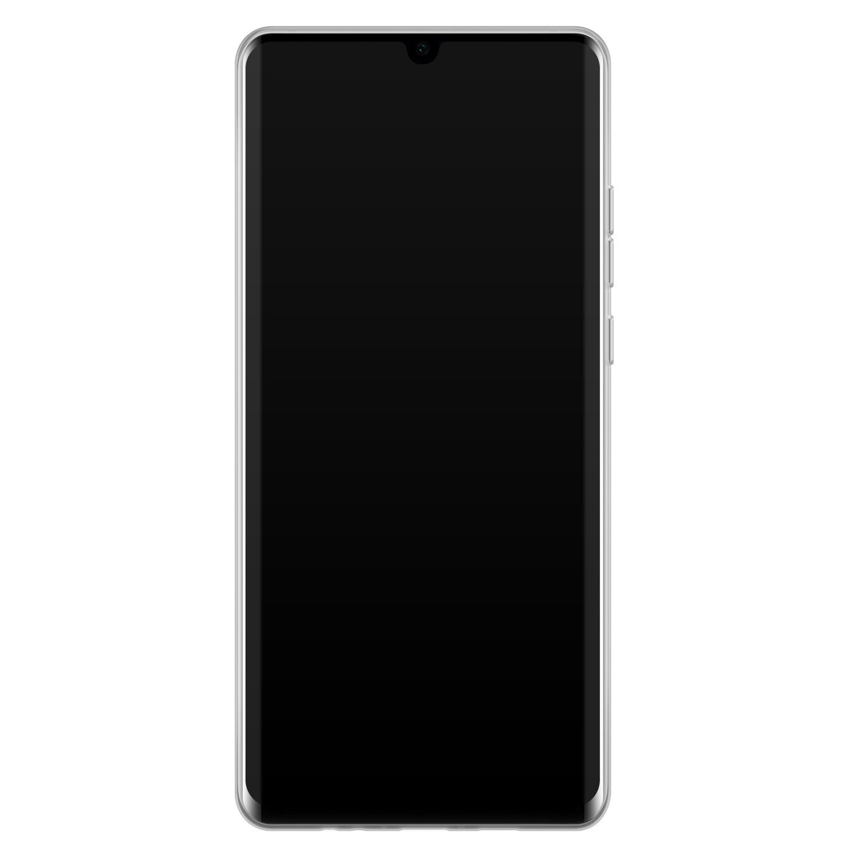 Huawei P30 Pro siliconen hoesje - Marmer zwart bruin