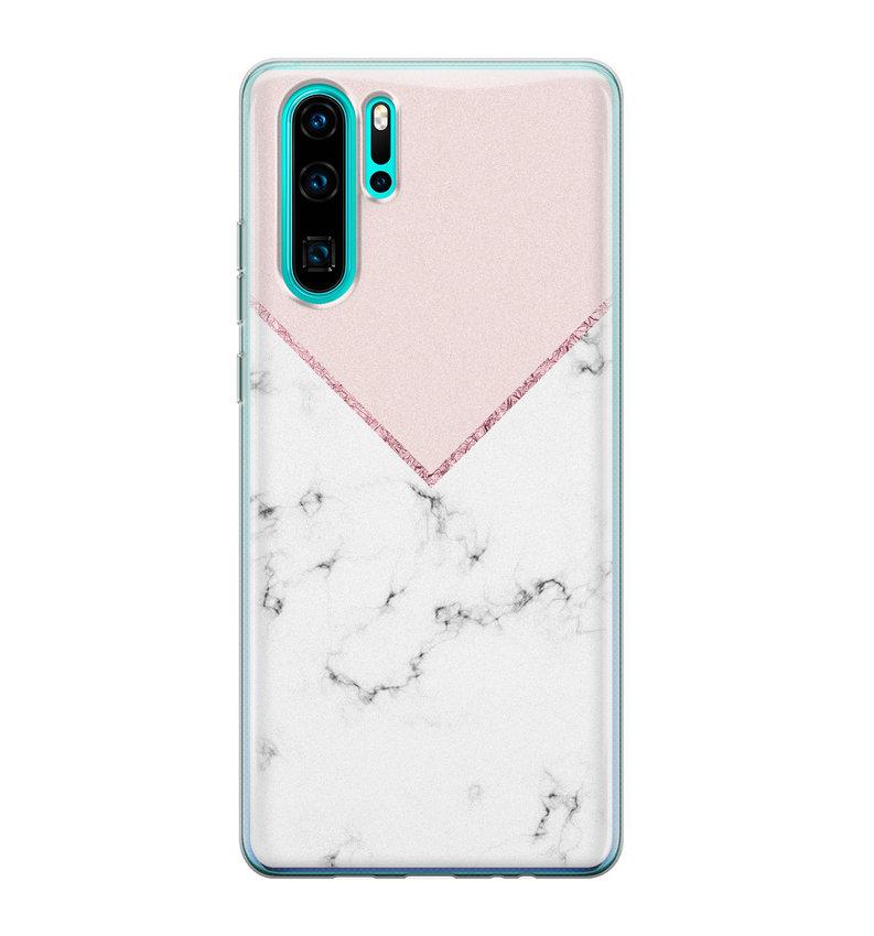 Huawei P30 Pro siliconen hoesje - Marmer roze grijs