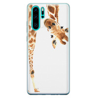 Huawei P30 Pro siliconen hoesje - Giraffe peekaboo