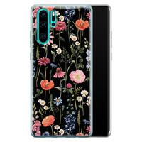 Leuke Telefoonhoesjes Huawei P30 Pro siliconen hoesje - Dark flowers