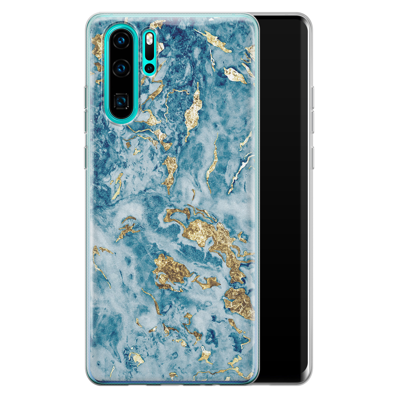 Huawei P30 Pro siliconen hoesje - Goud blauw marmer