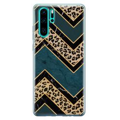 Leuke Telefoonhoesjes Huawei P30 Pro siliconen hoesje - Luipaard zigzag