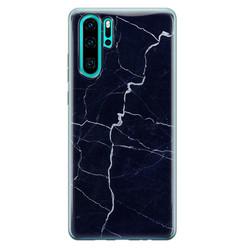 Leuke Telefoonhoesjes Huawei P30 Pro siliconen hoesje - Marmer navy blauw