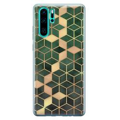 Leuke Telefoonhoesjes Huawei P30 Pro siliconen hoesje - Green cubes