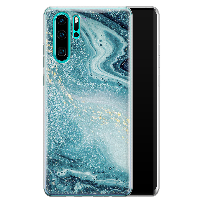 Huawei P30 Pro siliconen hoesje - Marmer blauw