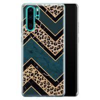 Huawei P30 Pro siliconen hoesje - Luipaard zigzag