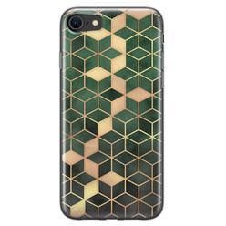 Leuke Telefoonhoesjes iPhone 8/7 siliconen hoesje - Green cubes