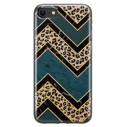 Leuke Telefoonhoesjes iPhone 8/7 siliconen hoesje - Luipaard zigzag