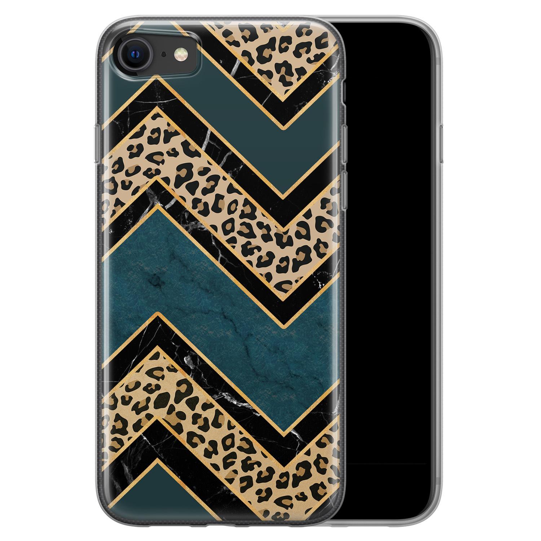 iPhone 8/7 siliconen hoesje - Luipaard zigzag