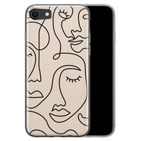 iPhone 8/7 siliconen hoesje - Abstract gezicht lijnen
