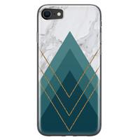 iPhone 8/7 siliconen hoesje - Geometrisch blauw