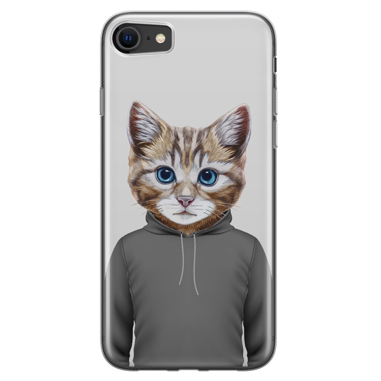 iPhone 8/7 siliconen hoesje - Poezenhoofd