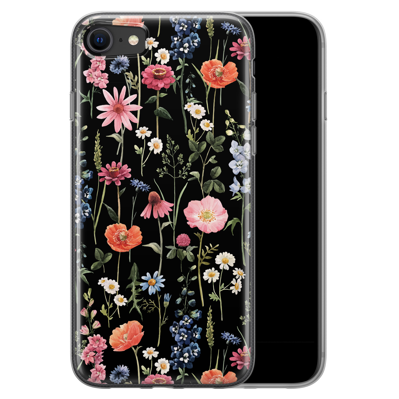 iPhone 8/7 siliconen hoesje - Dark flowers