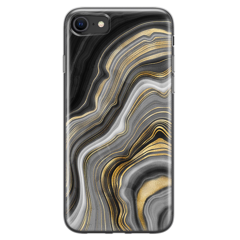 Leuke Telefoonhoesjes iPhone 8/7 siliconen hoesje - Golden agate
