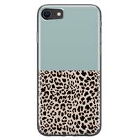 iPhone 8/7 siliconen hoesje - Luipaard mint