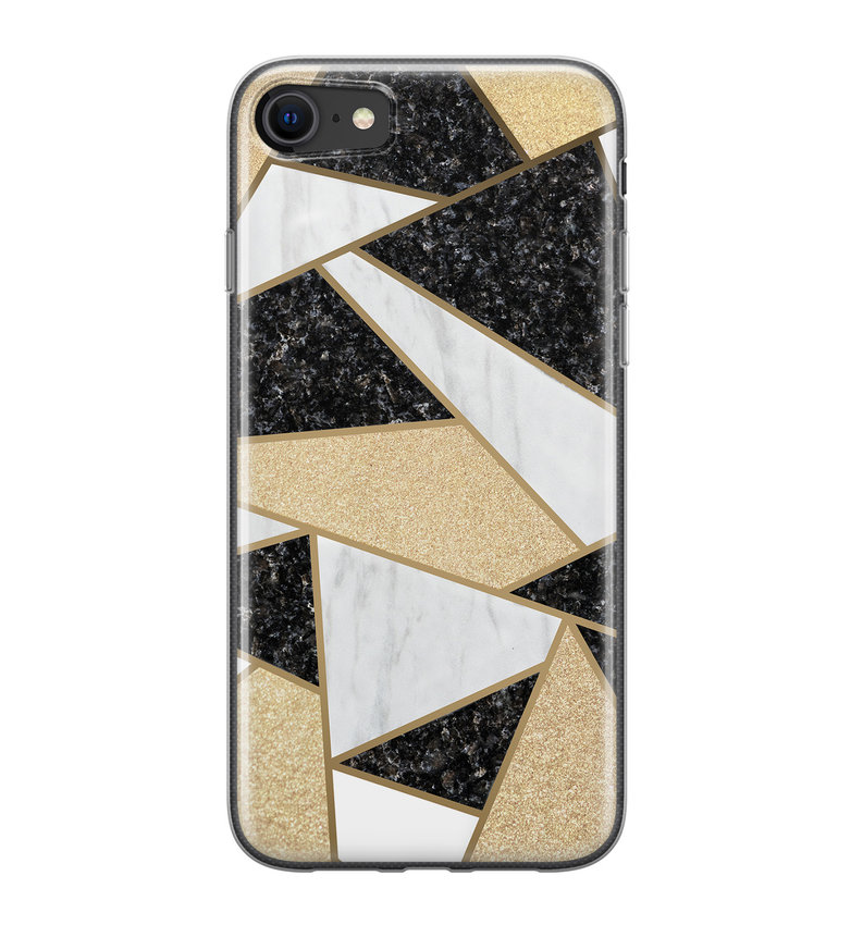 iPhone 8/7 siliconen hoesje - Goud abstract