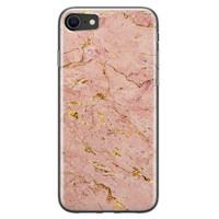 iPhone 8/7 siliconen hoesje - Marmer roze goud