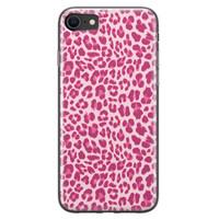 iPhone 8/7 siliconen hoesje - Luipaard roze