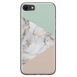 Leuke Telefoonhoesjes iPhone 8/7 siliconen hoesje - Marmer pastel mix