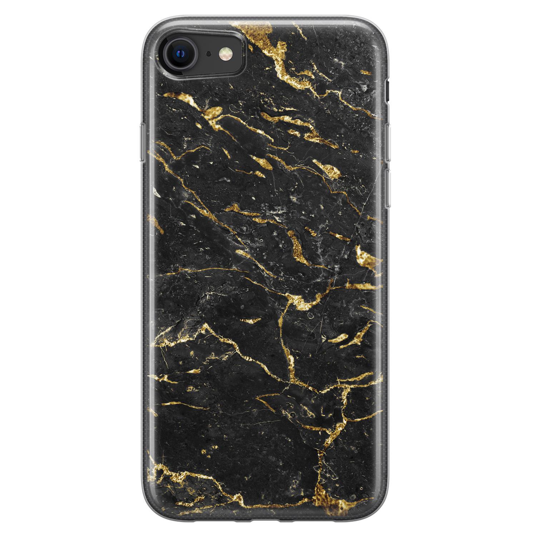 iPhone 8/7 siliconen hoesje - Marmer zwart goud