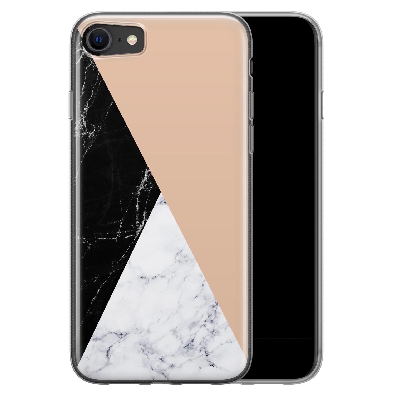 iPhone 8/7 siliconen hoesje - Marmer zwart bruin