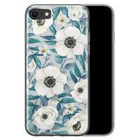 iPhone 8/7 siliconen hoesje - Witte bloemen