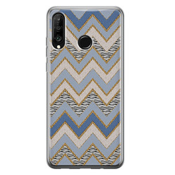 Leuke Telefoonhoesjes Huawei P30 Lite siliconen hoesje - Retro zigzag
