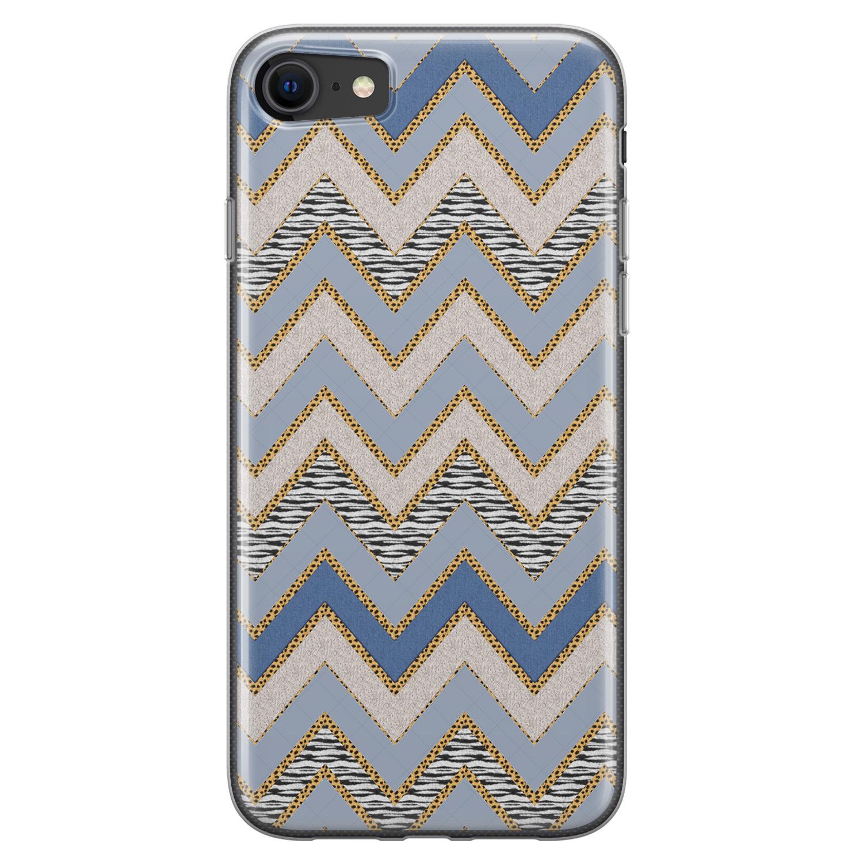 Leuke Telefoonhoesjes iPhone SE 2020 siliconen hoesje - Retro zigzag