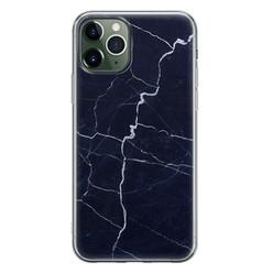 Leuke Telefoonhoesjes iPhone 11 Pro Max siliconen hoesje - Marmer navy blauw