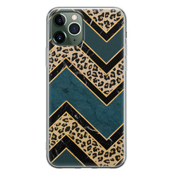 Leuke Telefoonhoesjes iPhone 11 Pro Max siliconen hoesje - Luipaard zigzag