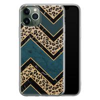 iPhone 11 Pro Max siliconen hoesje - Luipaard zigzag