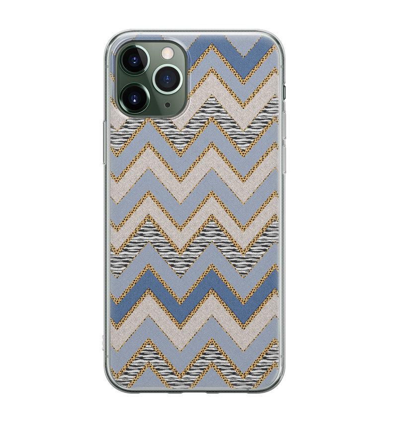 iPhone 11 Pro Max siliconen hoesje - Retro zigzag