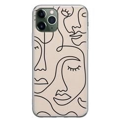 Leuke Telefoonhoesjes iPhone 11 Pro Max siliconen hoesje - Abstract gezicht lijnen