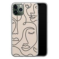 iPhone 11 Pro Max siliconen hoesje - Abstract gezicht lijnen