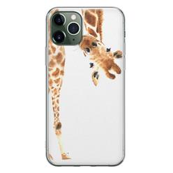 Leuke Telefoonhoesjes iPhone 11 Pro Max siliconen hoesje - Giraffe peekaboo