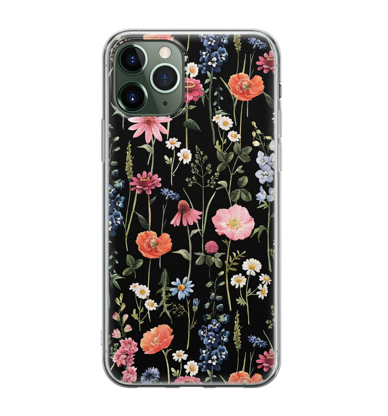 iPhone 11 Pro Max siliconen hoesje - Dark flowers