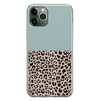 iPhone 11 Pro Max siliconen hoesje - Luipaard mint