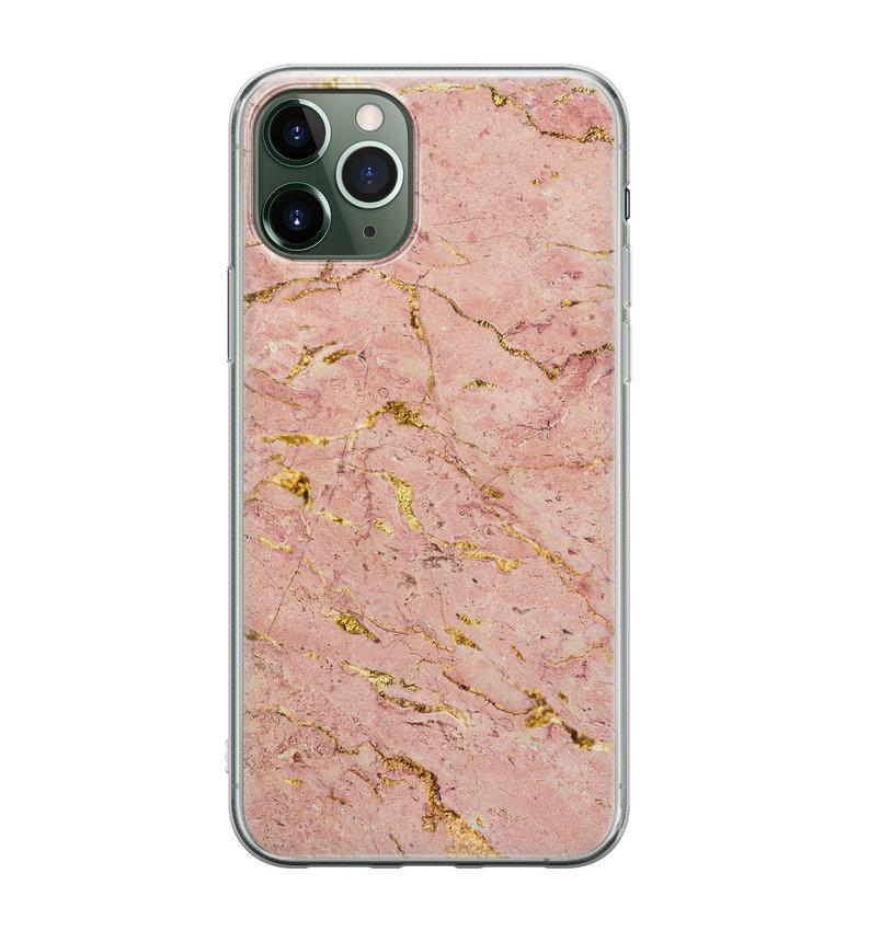 iPhone 11 Pro Max siliconen hoesje - Marmer roze goud
