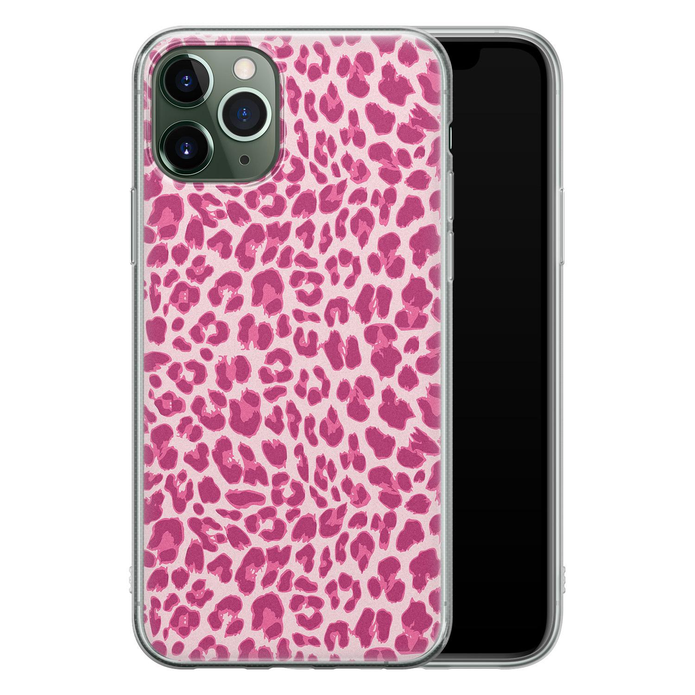 iPhone 11 Pro Max siliconen hoesje - Luipaard roze
