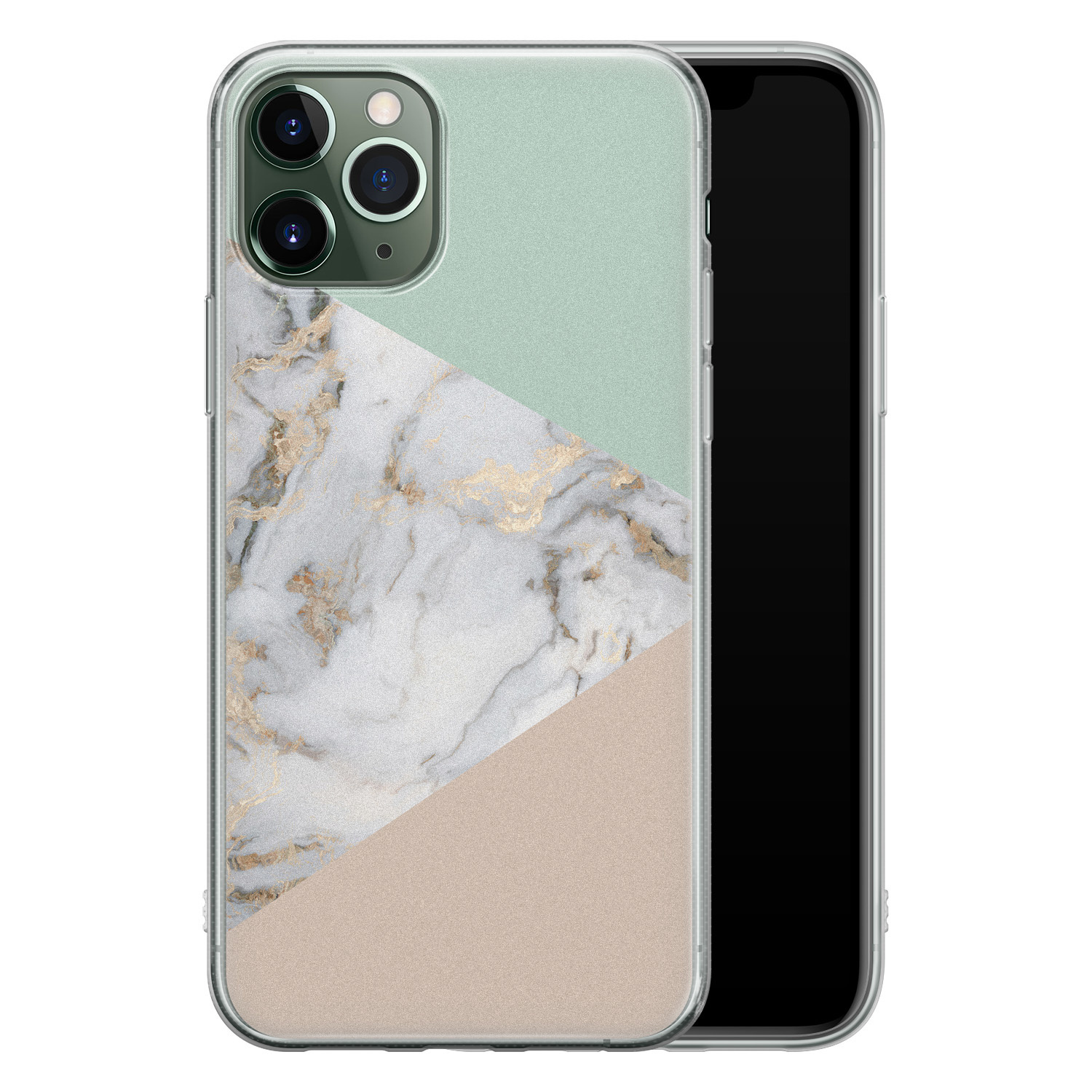 iPhone 11 Pro Max siliconen hoesje - Marmer pastel mix