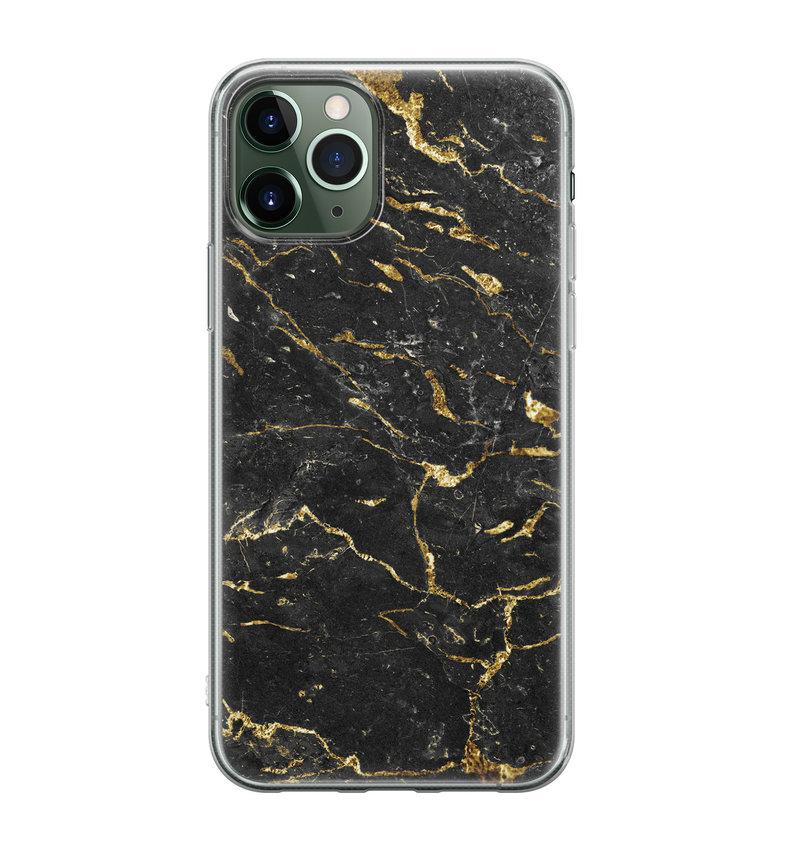 iPhone 11 Pro Max siliconen hoesje - Marmer zwart goud