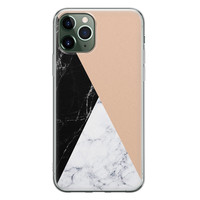 iPhone 11 Pro Max siliconen hoesje - Marmer zwart bruin